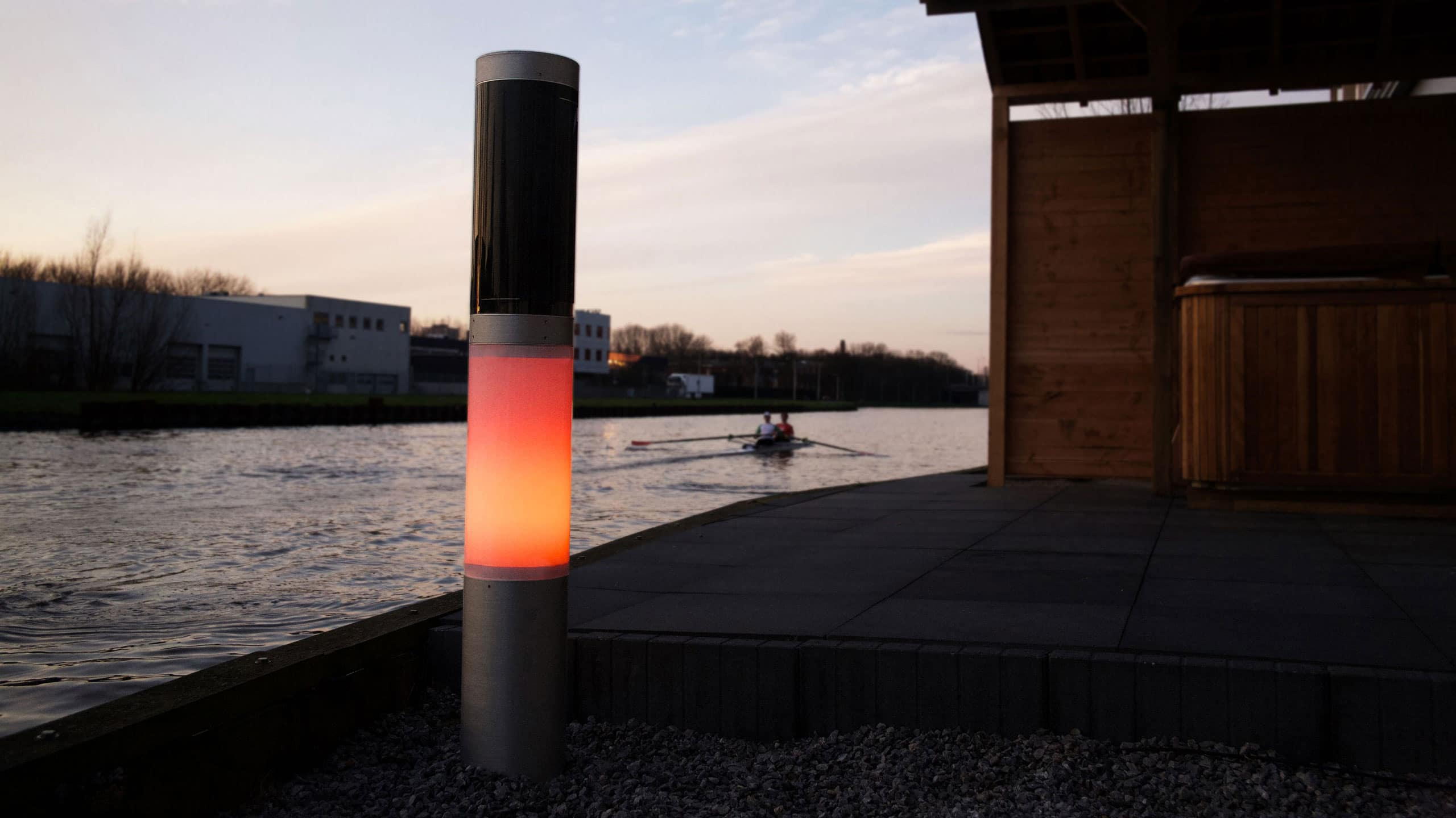 NxT solar outdoor lighting LED lamp near river